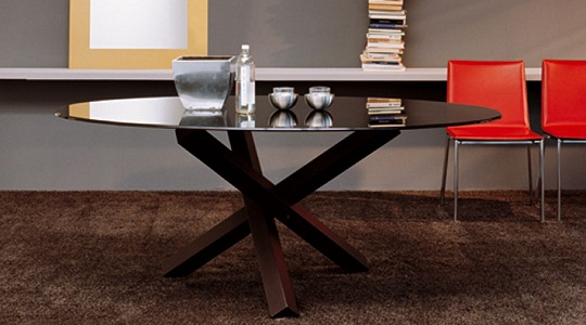 Tavolo base sagomata lambda sovet idee per il design - Base per tavolo cristallo ...
